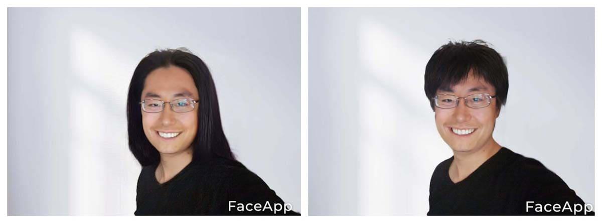 ヘアスタイルを変えた自分の写真