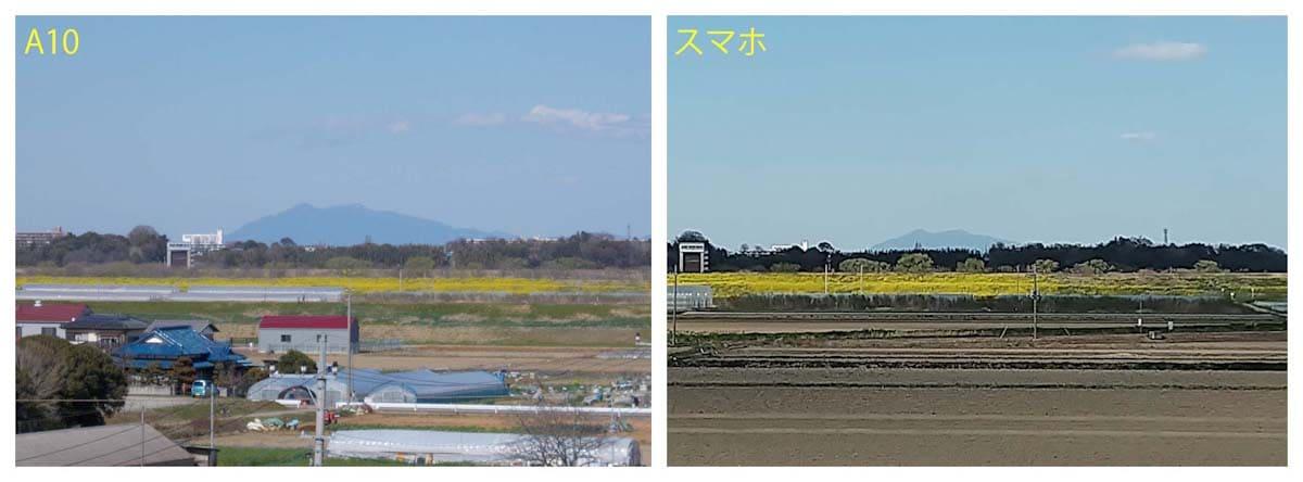 望遠で撮影した筑波山
