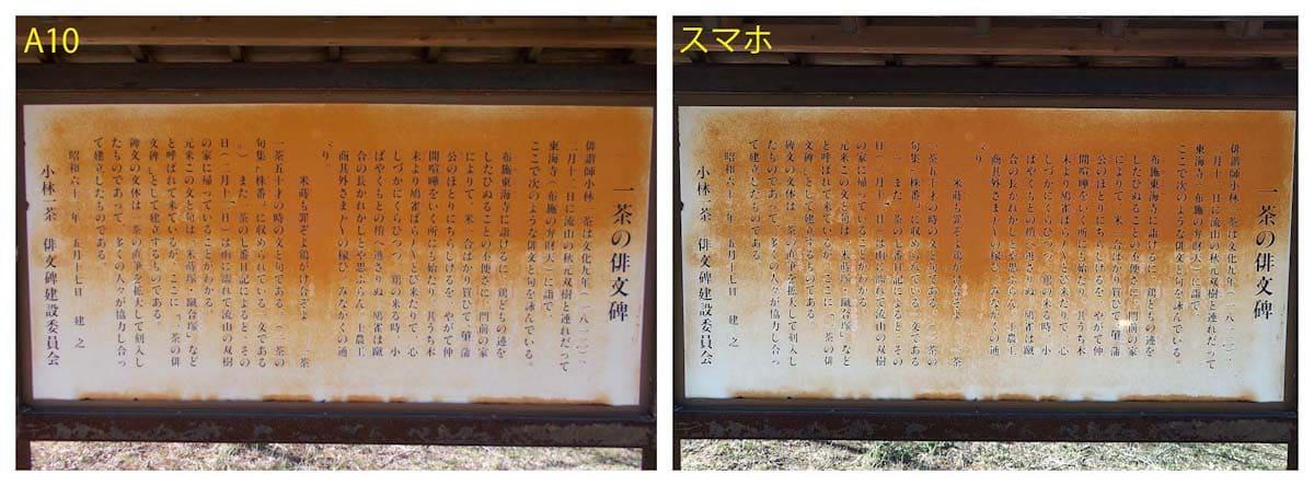一茶の俳句が記載された看板