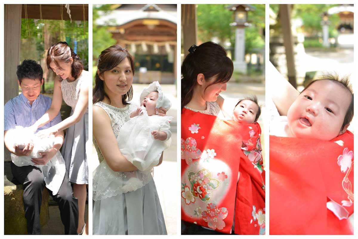 掛け着を羽織ったお母さんと赤ちゃん
