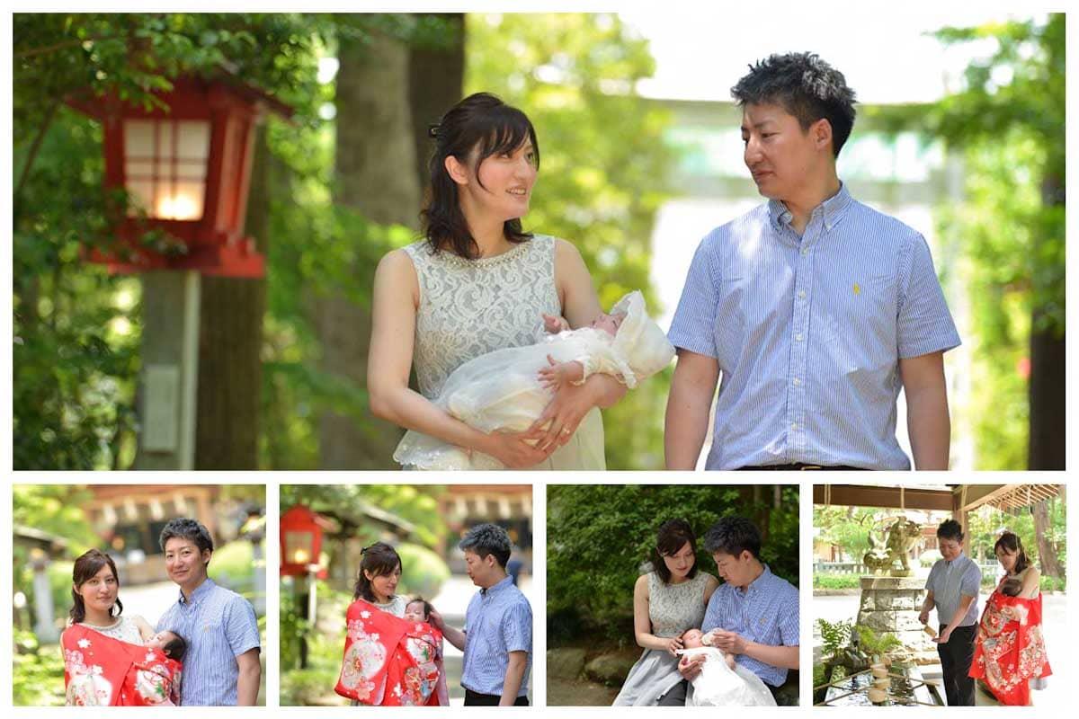 赤ちゃんを抱っこして歩くご夫婦