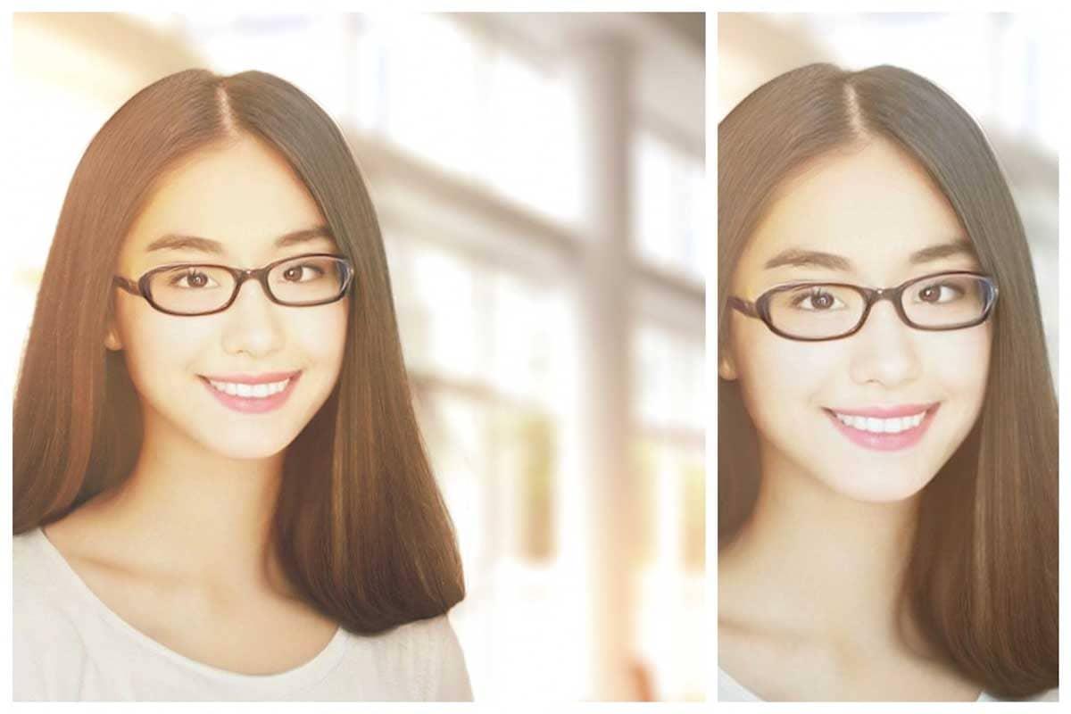 メガネをかけたロングヘアの女性