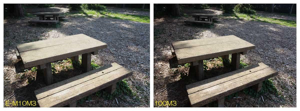 公園にあるテーブルとイス