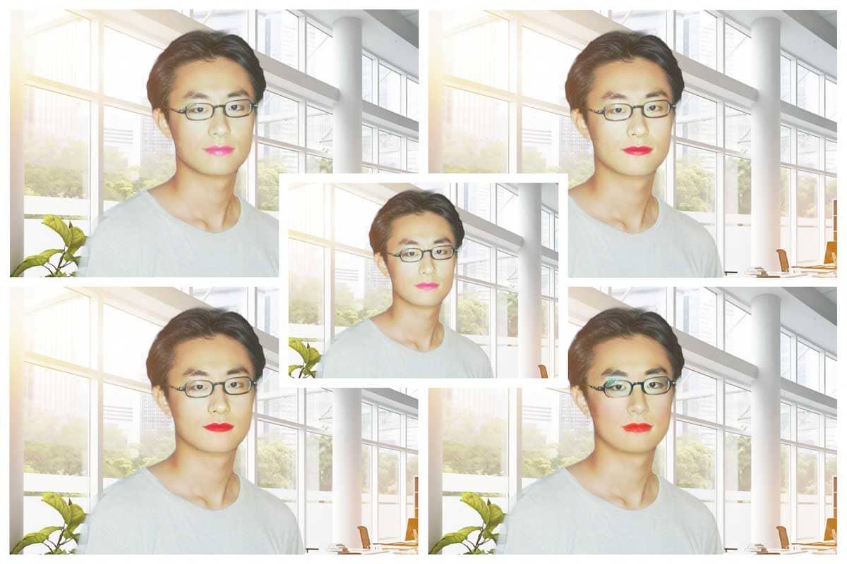 化粧をした男性