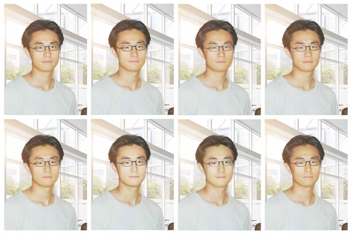 顔変換を加えた男性の顔