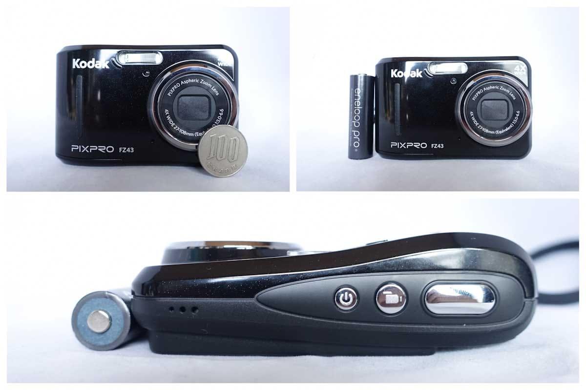 100円玉と電池とデジカメ