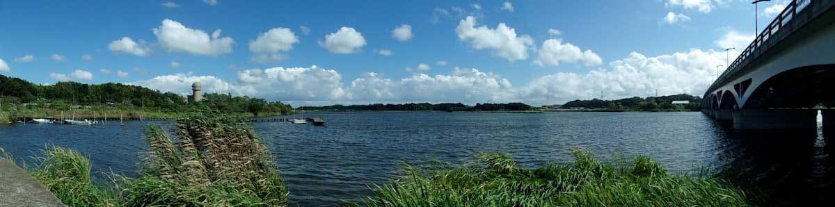 パノラマで撮影した湖