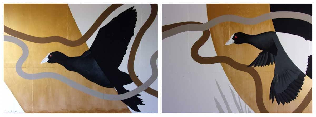 トンネルに描かれた鳥の絵