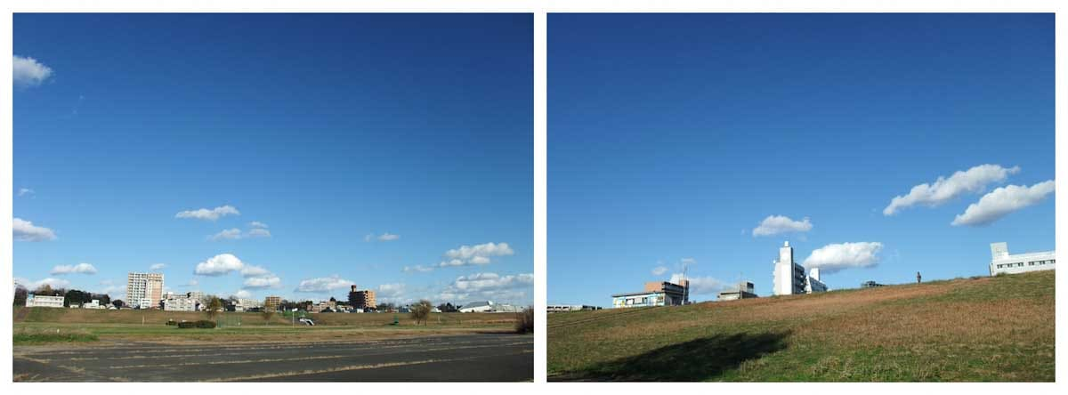 青空と運動場の風景