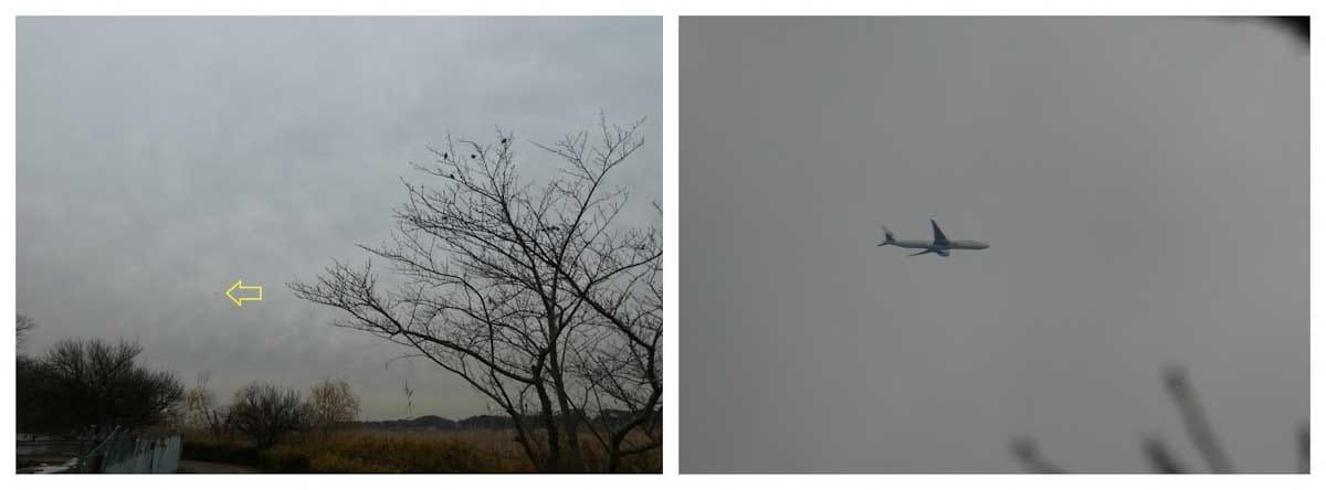 曇りの日に飛ぶ飛行機
