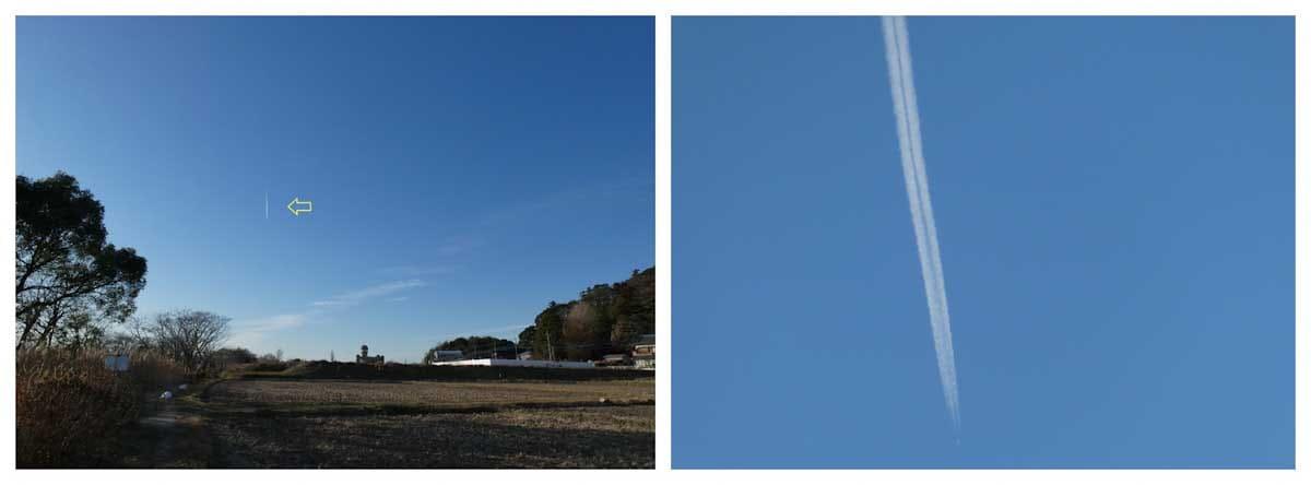 青空に浮かぶ飛行機雲
