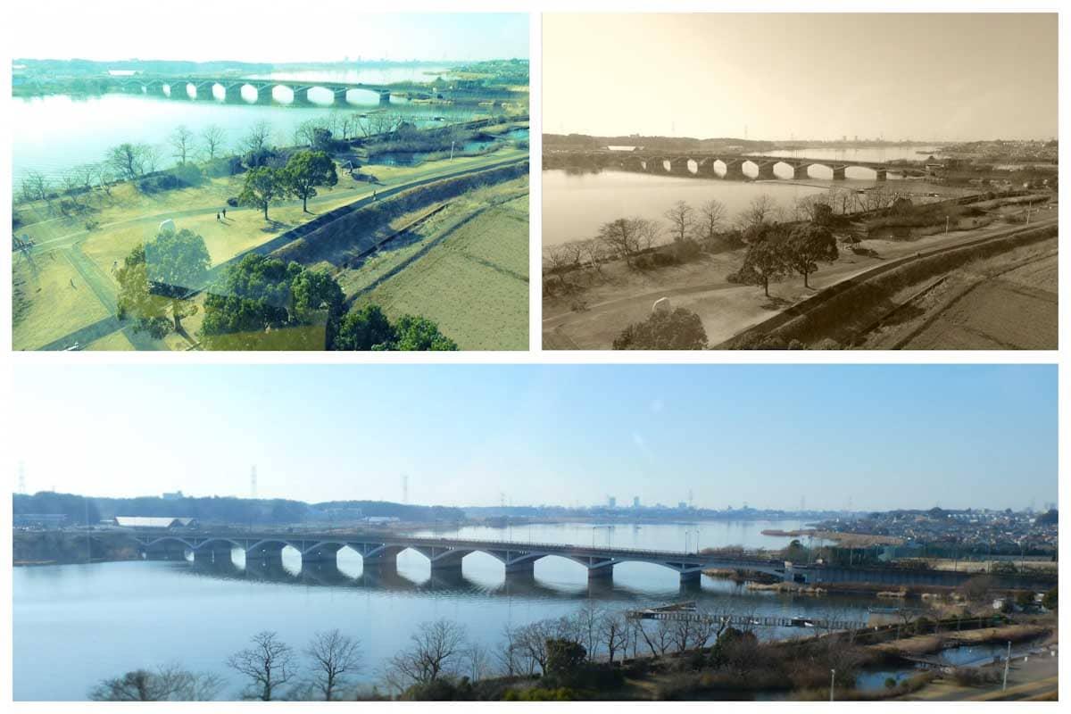 展望台から撮影した大きな橋と湖