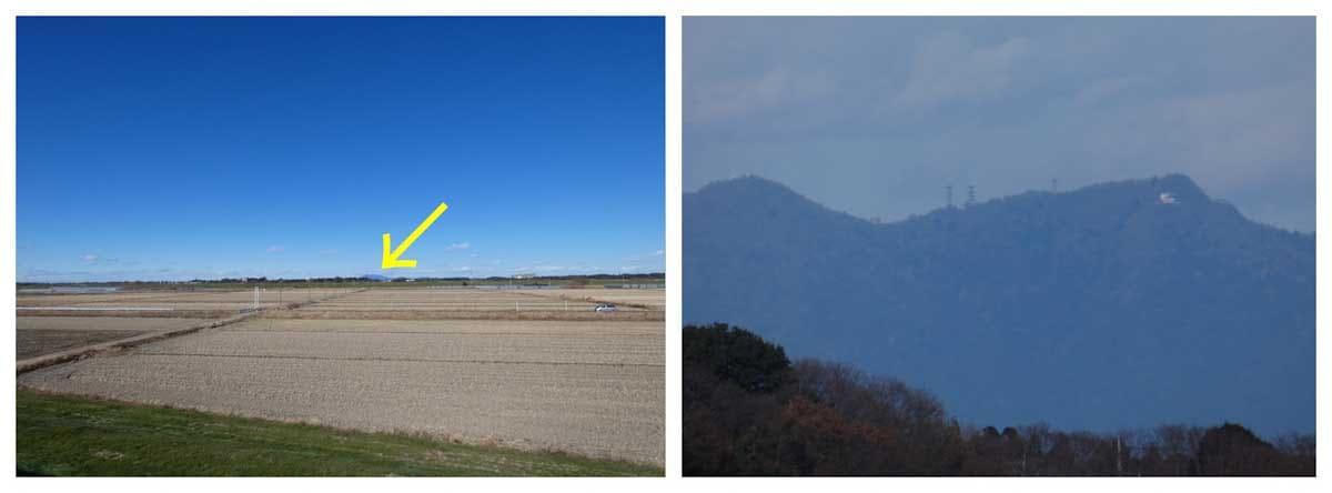 千葉県柏市から見た茨城県の筑波山