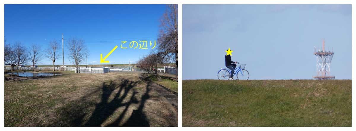 土手を自転車で走る男性