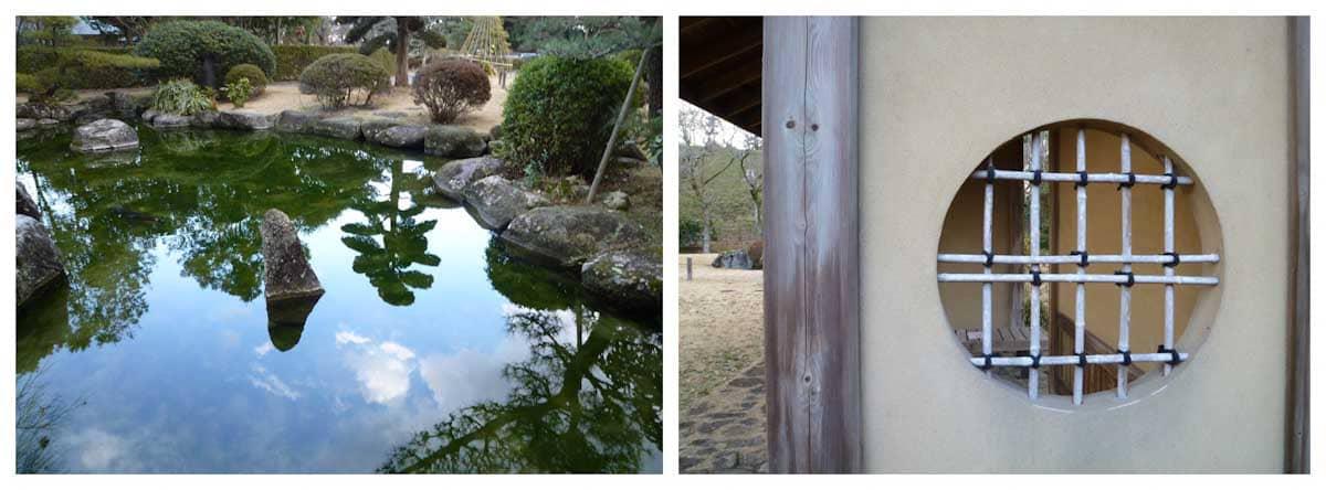 庭園の池と和の建物