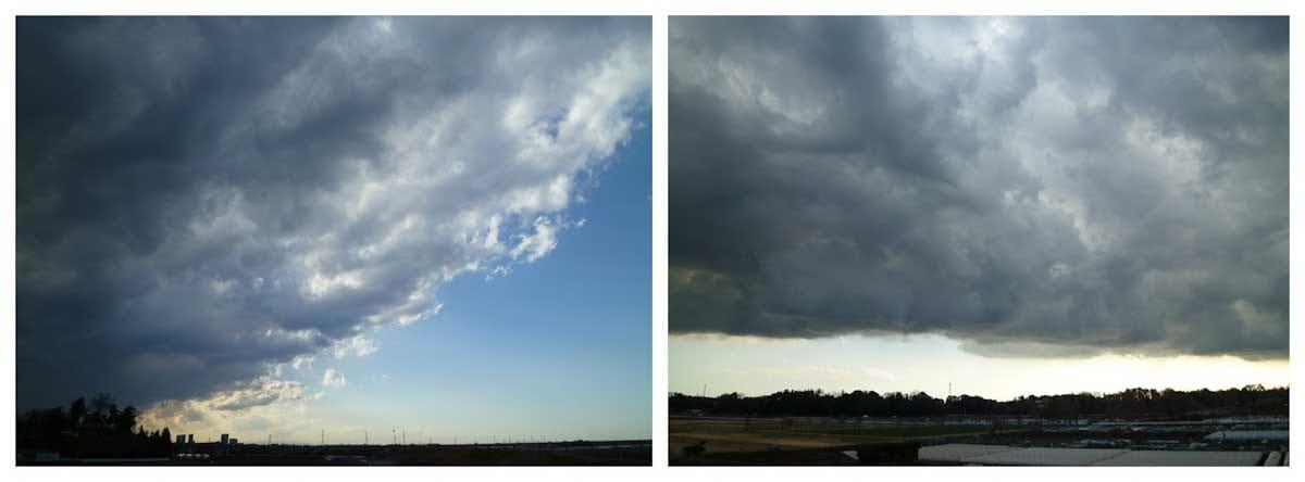 青空に迫り来る雲