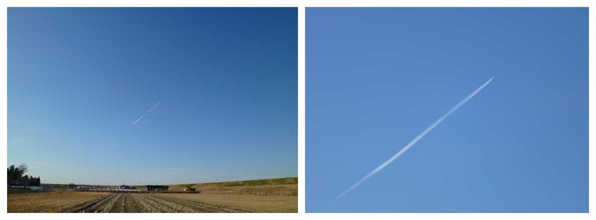 青空を翔る飛行機雲