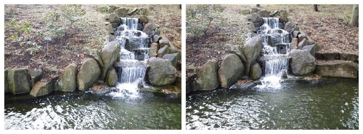 公園の小さな人口の滝