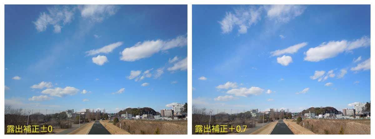 一本道と青空の光景