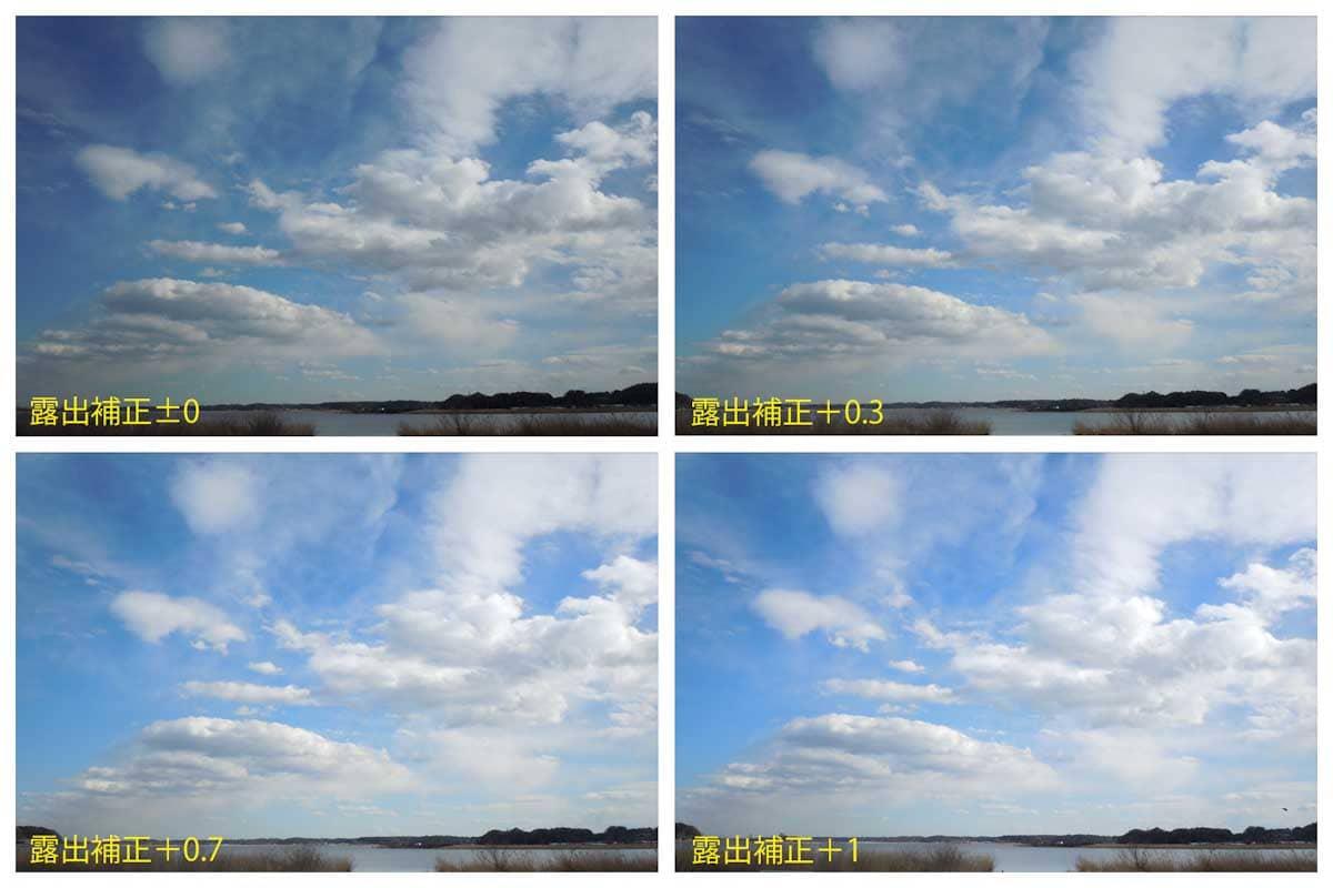 青空と雲と湖の景色