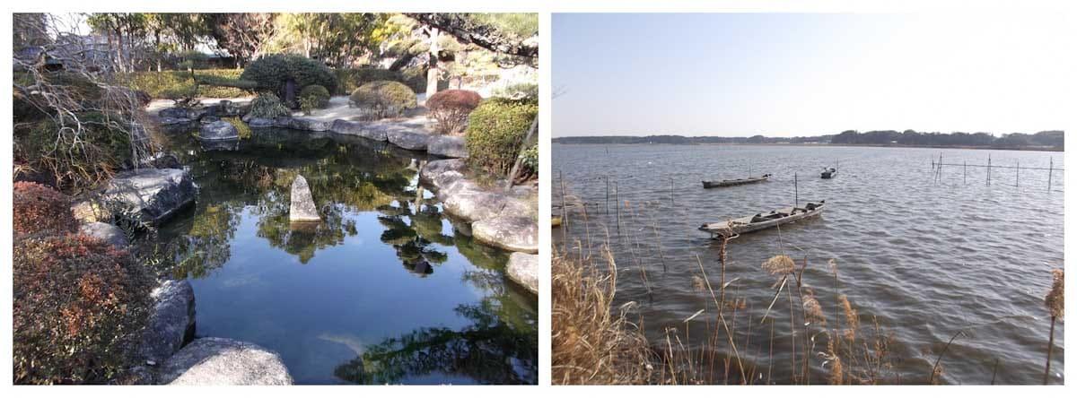 池と2隻のボートが浮かんでいる湖