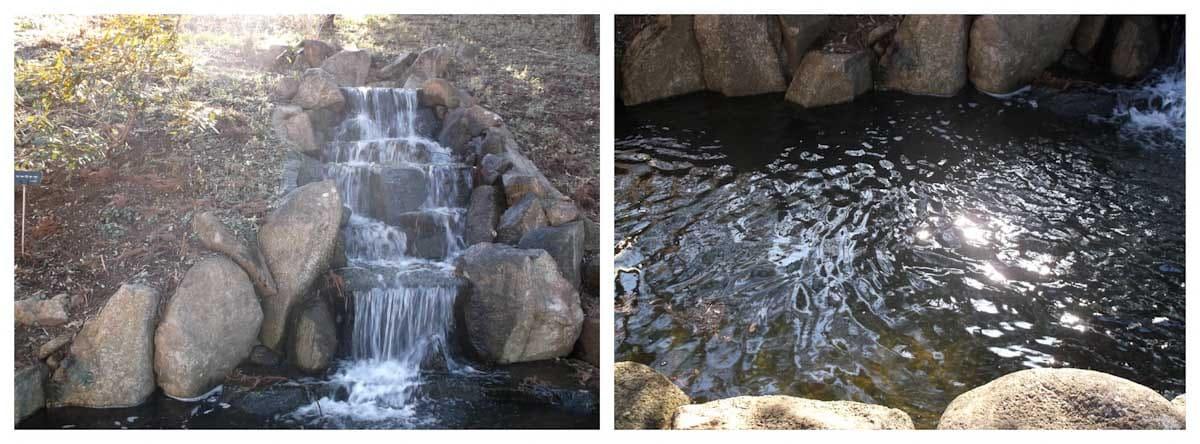 公園にある小さな人口の滝