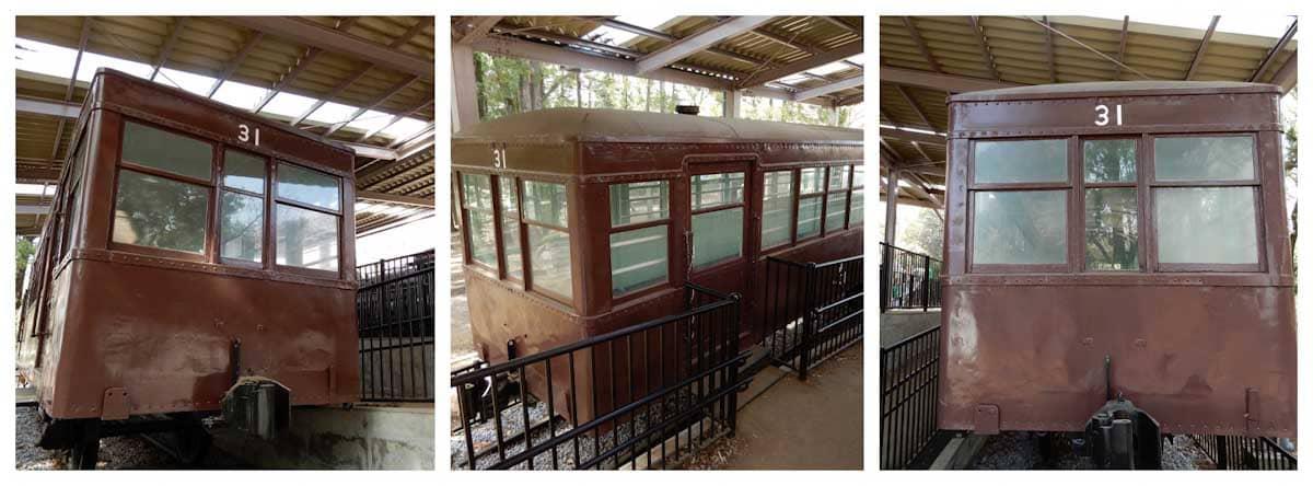 展示された茶色の電車